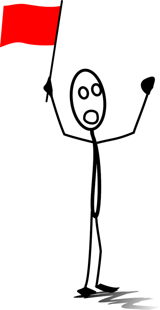 image of a stick figure holding up a red flag