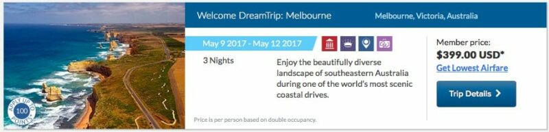 screenshot showing a sample World Ventures Dream Trip