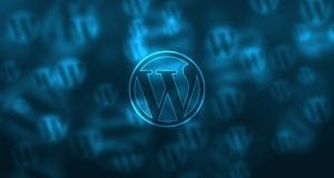 this image shows the WordPress logo against a blue background.