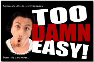 this image shows a postcard mailer created by Too Damn Easy. What is Too Damn Easy about?