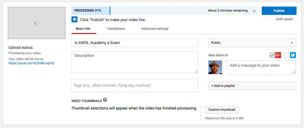 image showing the YouTube upload video information screen