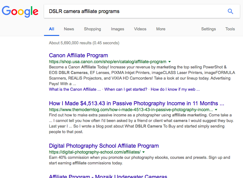 screenshot of a google search for DSLR camera affiliate programs