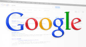 image of the Google multicolored logo on top of a screen showing Google search results. Knowing how to google for business can be very profitable.