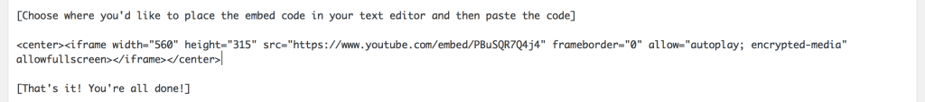 this image shows the embed code being pasted into the WordPress text editor