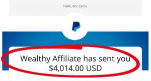 image showing monthly commissions from Wealthy Affiliate totaling $4014