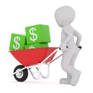 image of a stick figure holding a wheelbarrow with green blocks labeled with the money sign.