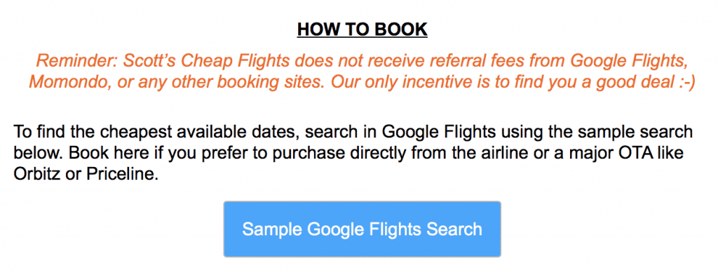 screenshot of an email alert from Scotts Cheap Flights showing how to book with Google Flights