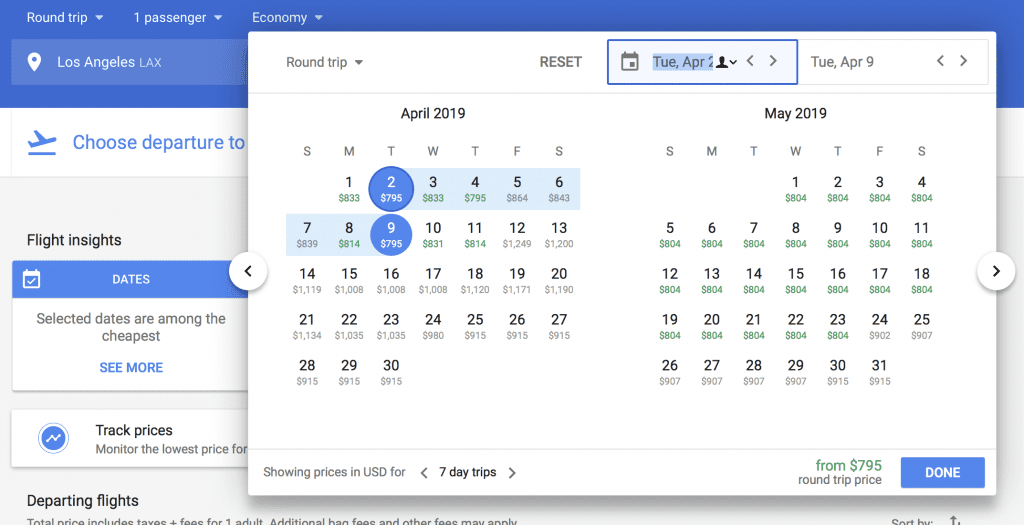 screenshot showing how to use Google Flights to book your cheap flight with Scott's Cheap Flights