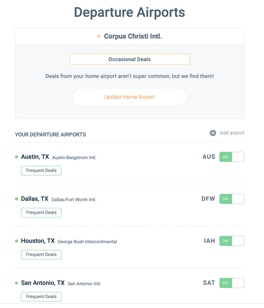 screenshot showing Scott's Cheap Flights departure airport settings