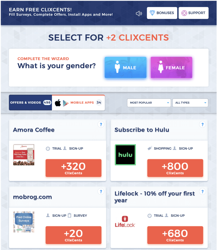 Screenshot of Clixsense offers
