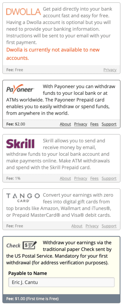 screenshot showing the Clixsense payment options