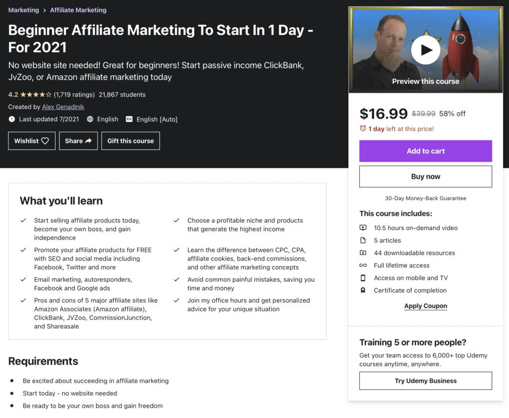 Beginner Affiliate Marketing to Start in 1 Day - For 2021