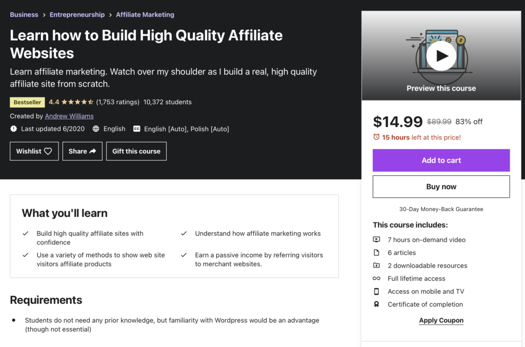 Learn how to build high quality affiliate websites
