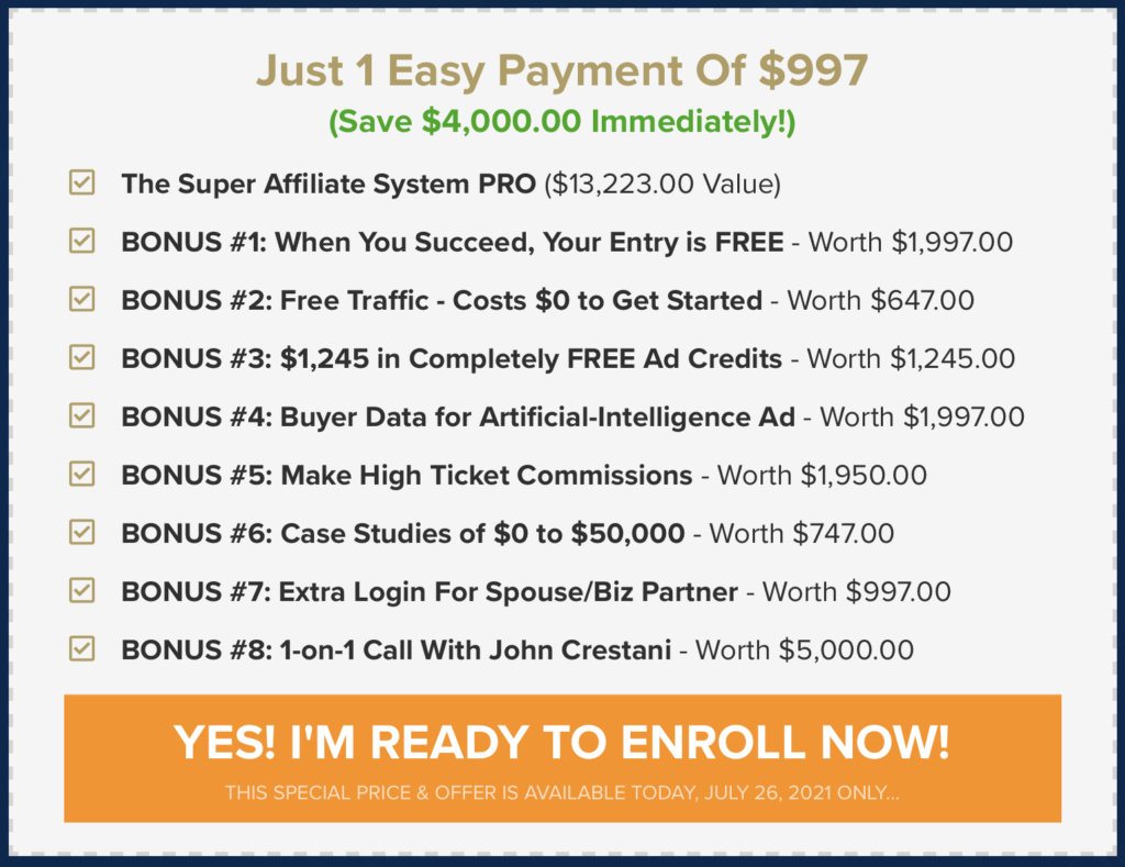 super affiliate system pro what you get