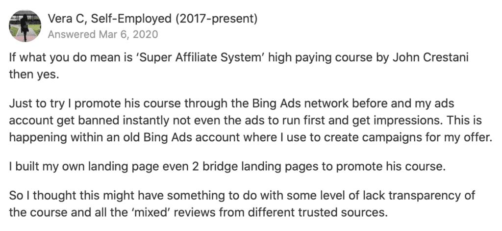 john crestani super affiliate system complaint