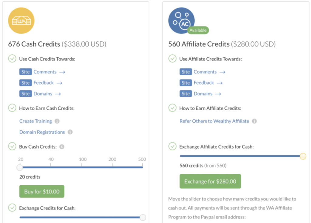 wealthy affiliate credits